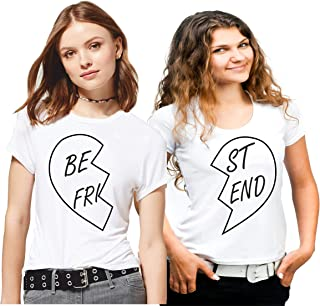 Hangout Hub Family-Friends- Women's Cotton Printed Regular Fit T-Shirts (Pack of 2) Best Friends (Heart) Style 2