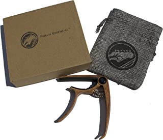 Acoustic Electric Guitar Capo (Metal) Universal 6-String and Classical Accessory | Mandolin, Bass, Ukulele | Dual-Sided Neck Padding | Black, Light Brown, Dark Brown, Silver (Mahogany)
