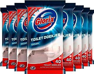 Glorix Ocean Toilet Schoonmaakdoekjes voor 100% hygiënische reiniging - 10 x 40 doekjes - Voordeelverpakking