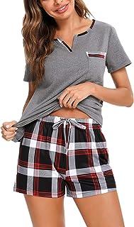 Doaraha Pijama a Cuadros para Mujer Camiseta y Pantalones Pijamas Manga Larga Celosía Ropa de Dormir de Algodón Manga Cort...
