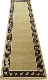Meander Design Printed Slip Resistant Rubber Back Latex Runner Rug Color Options Available (Beige, 23