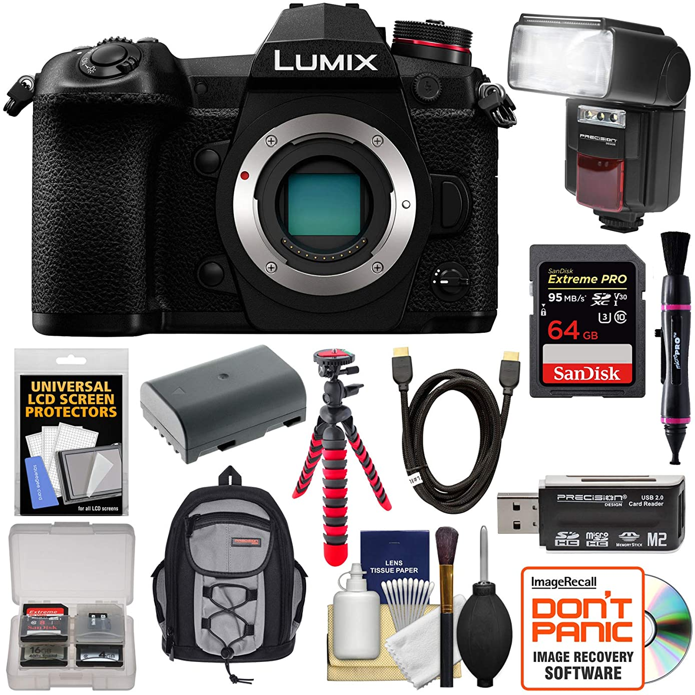 Panasonic Lumix DC-G9 4K Wi-Fi Digital Camera Body with 64GB Card + Battery + Backpack + Flash + Flex Tripod + Kit