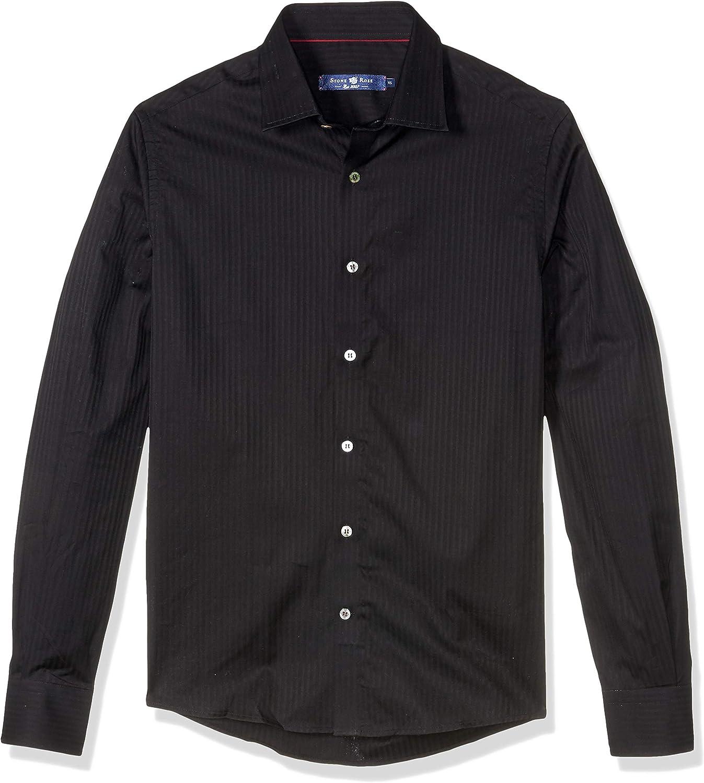 Stone Rose Men's Cotton Tone Striped Long Sleeve Shirt