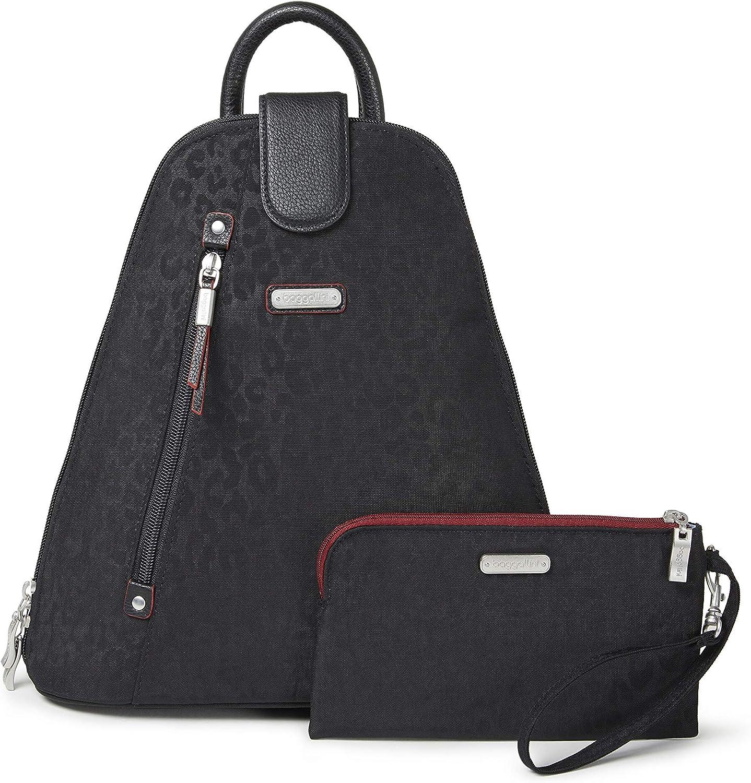 Baggallini Women's Metro Backpack with RFID Phone Wristlet Handbags, Black Cheetah, One Size