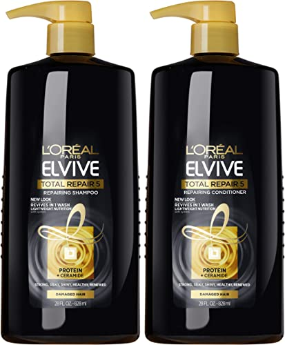 L'Oreal Paris Elvive Total Repair 5 Repairing Shampoo and Conditioner for Damaged Hair, Shampoo and Conditioner Set w...