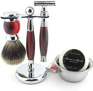 Shaving Gift Kit for Men,Yunlep Luxury Grooming Wet Shaving Set Including Razor with 10 Replacement Blades,Chrome Stand,Bowl,Shaving Soap,Shaving Brush (Red)