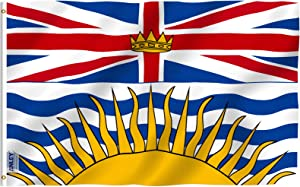 Anley Fly Breeze 3x5 Feet British Columbia Flag - Vivid Color and Fade Proof - Canadian Province of British Columbia Flag Polyester with Brass Grommets 3 X 5 Ft