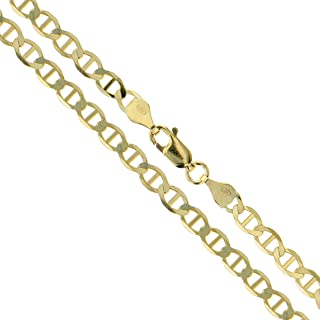 Real 10k/14k Gold Mariner Link Chain Necklace