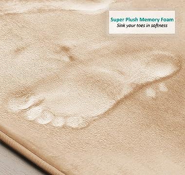 "Clara Clark Bathroom Rugs, Ultra Soft Non Slip and Absorbent, Velvet Memory Foam Bath Mat. Set of 2 - 17"" x 24"", Crea"