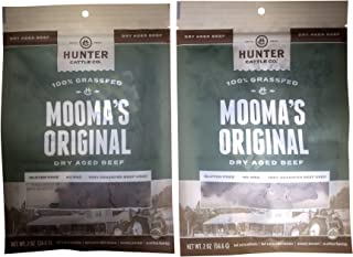Hunter Cattle Co. Dry Aged Beef Biltong 100% Grassfed Beef No Sugar Two Pack (Mooma's Original)