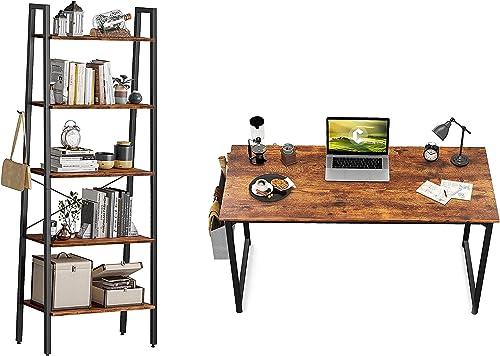 "2021 CubiCubi Study Computer Desk 47"" Home Office Writing Small Desk, Rustic online Brown&CubiCubi outlet online sale Ladder Shelf, 5-Tier Bookshelf, Storage Rack Shelves,Deep Brown outlet online sale"