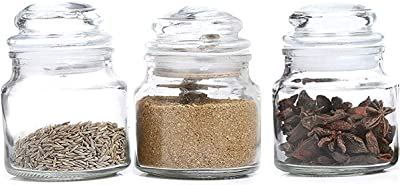Pure Source India Spice Jar, Glass Container, with Air Tight Lid, Set of 3 Pcs - Transparent