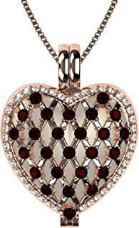 "NANA Mother's Heart Locket Pendant, Sterling Silver&Mother of Pearl, with a 1mm 22"" Adjustable Box chain"