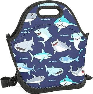 Women&Men&Kids Shark Lunch Bag Soft Tote Bag Insulated Lunch Box Shoulder Strap Leak-Proof Lunch Organizer for Picnic/Boating/Beach/Fishing/Work (cute cartoon shark)