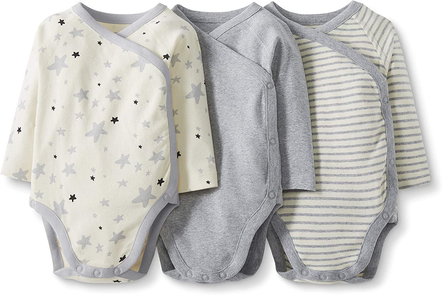 Pacco da 3 Moon and Back by Hanna Andersson 3 Pack Long Sleeve Side Snap Bodysuit Unisex-Bimbi 0-24