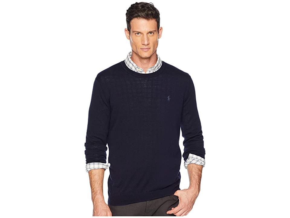 Polo Ralph Lauren Washable Merino Crew Neck Sweater (Hunter Navy) Men