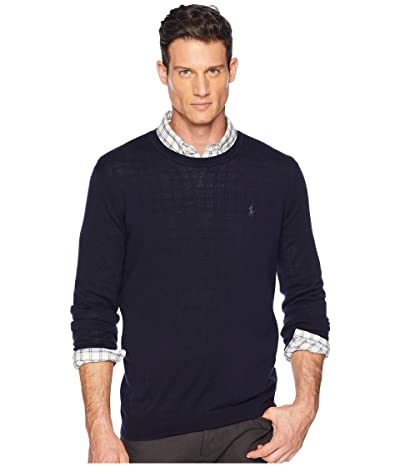 Polo Ralph Lauren Washable Merino Crew Neck Sweater (Hunter Navy) Men