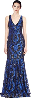 David Meister Embroidered Sequin V-Neck Evening Gown Dress