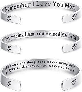 3 Pack Stainless Steel Heart Bangle Engraved Open Cuff Bracelet with Secret Message Inspirational Gifts for Mother's Day, Thanksgiving Xmas Gifts