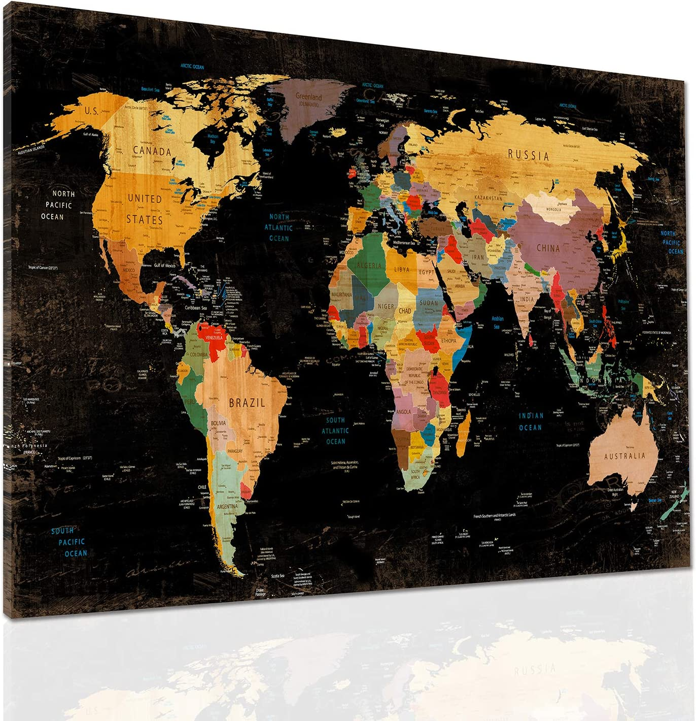 Decor MI Colorful World Map Manufacturer regenerated product Wall Deco Black Canvas Prints Beauty products Art on