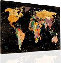 Decor MI Colorful World Map Wall Art on Canvas Black Deco Prints Paintings Travel Map of The World Children Education Ready to Hang Map Decor Artwork for Home Living Room Decoration,24
