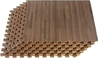 FOREST FLOOR 24 x 24 in x 5/8 in Thick Printed Foam Tiles,  Premium Wood Grain Interlocking Foam Floor Mats,  Anti-Fatigue Flooring,  24 Sq Ft,  Walnut