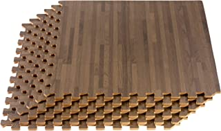 FOREST FLOOR 24 x 24 in x 5/8 in Thick Printed Foam Tiles,  Premium Wood Grain Interlocking Foam Floor Mats,  Anti-Fatigue Flooring,  36 Sq Ft