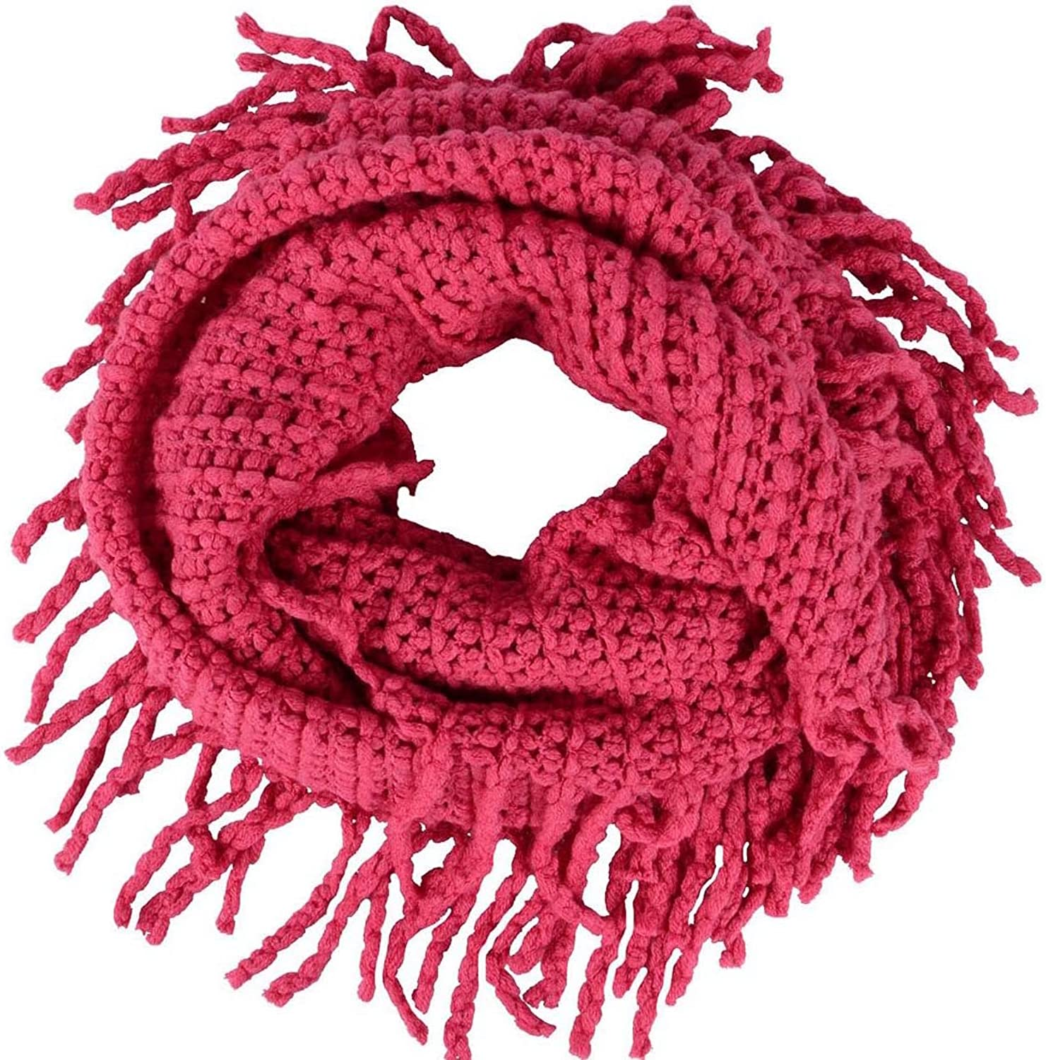 Women's Winter Warm Crochet Knit Fringe Infinity Loop Scarf