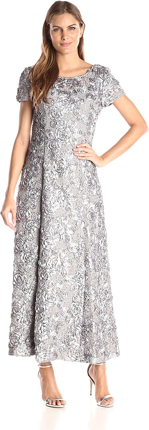Alex Evenings Women's Long ALine pinktte Dress with Short Sleeves and Sequin Detail