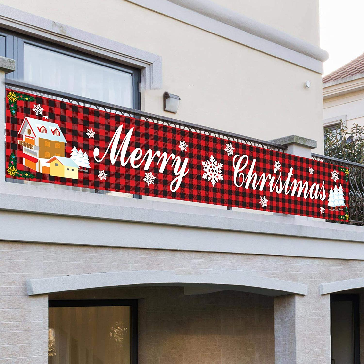 Syfinee Outdoor Banner Flag Pulling Merry Christmas Letter Printed Cartoon Pattern Banner Waterproof Merry Christmas Banner Large Xmas Sign Huge Xmas House Home Outdoor Party Decoration