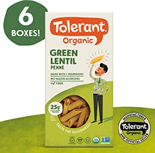 Tolerant Organic Gluten Free Green Lentil Penne Pasta, 8 Ounce Box (Case of 6), Plant Based Protein, Vegan Pasta, Single Ingredient Protein Pasta, Whole Food, Clean Pasta, Low Glycemic Index Pasta