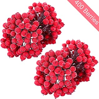 MELLIEX 400 Artificial Frosted Holly Berries, 200 Stems Mini Christmas Frosted Fruit Berry for Christmas Tree Decoration and Wreath & Garland Making