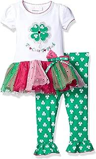 Bonnie Baby Girls' Appliqued Tutu Skirt Dress and Legging Set