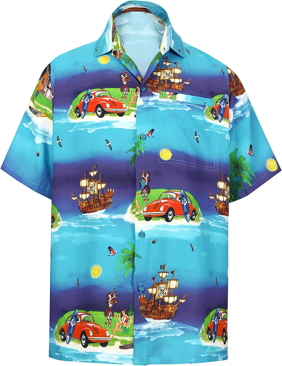 HAPPY BAY Men's Fixed price for sale 3D HD Holiday Sh Hawaiian depot Up Button Sleeve Short