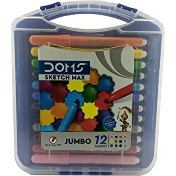 DOMS Sketch Max Jumbo Pen (5mm Tip, 12 Shades) with Carry Case