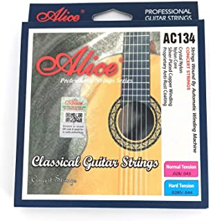 Alice Classical Guitar Strings 0285-044 Nylon Core Strings with Anti-Rust Coating Hard Tension, 2 Sets