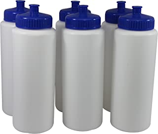 Pinnacle Mercantile Sports Squeeze Plastic Water Bottles Push/Pull Cap Wide Mouth Pack of 6