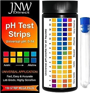 JNW Direct pH Test Strips, 150 Universal Strips pH 0-14 for Testing Water, Urine, Saliva, Pool, Kombucha, Soap Making, Cos...