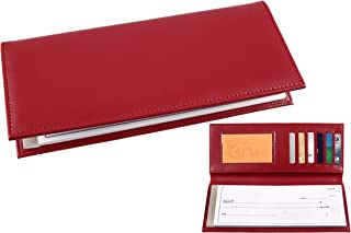 Business Size and Travelers Check Checkbook Cover PU Leather with Built in Storage Pockets for Side Tear Checks (Red)