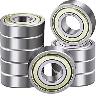 XiKe 10 Pcs 6204ZZ Double Metal Seal Bearings 20x47x14mm, Pre-Lubricated and Stable Performance and Cost Effective, Deep Groove Ball Bearings.