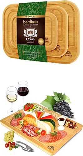 discount Bamboo Cutting Board with Juice Groove (3-Piece) and Bamboo Cutting Board XL- Serving Tray with wholesale Built-In online Compartments outlet sale
