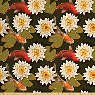 Ambesonne Asian Fabric by The Yard, Japanese Carp Koi Fish with Lotus Flowers East Culture Nature, Decorative Fabric for Upholstery and Home Accents, 2 Yards, Sienna Orange