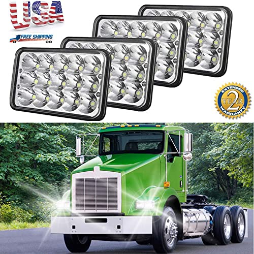 discount 4x6 LED Headlights Sealed Beam for Kenworth T400 W900B T800 W900L Classic FREIGHTLINER, H4651 H4652 outlet online sale H4656 online H4666 H6545 Rectangular Headlamps, Pack of 4, US Stock 2 Year Warranty outlet online sale