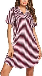 Ekouaer Nightgown Button Down Nightshirt Short Sleeve & 3/4 Sleeve Pajama Top Boyfriend Sleepshirt Nightdress for Women