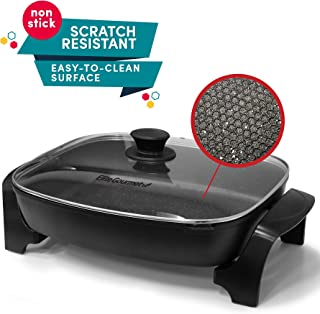 "Elite Cuisine Elite Gourmet EG-6203 Non-stick Deep Dish Heavy Duty Electric Skillet with Tempered G Easy-Pour Spout, Dishwasher Safe, 1500W, 16"" x 13"" x 3.15"", Black"