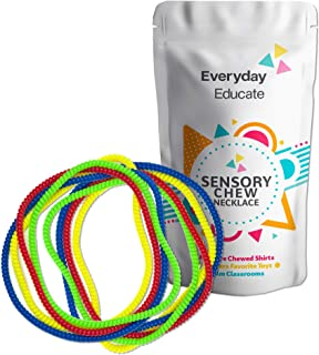 Everyday Educate Sensory Chew Necklace for Boys and Girls - Durable Chew Necklace for Kids with Autism ADHD - Oral Sensory Chew Necklace - Biting Teething Needs - Sensory Chewy (8) Pack