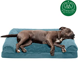 Furhaven - Plush Orthopedic L-Shaped Chaise Lounger & Traditional Sofa-Style Dog Bed - Available in Multiple Colors & Styles
