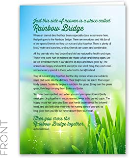 Rainbow Bridge Keepsake Pet Sympathy Card for Dog, Cat, Horse or Any Pet Loss, 5