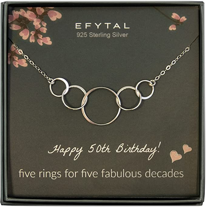 Birthday gifts for women, Sterling Silver Five Circle Necklace For Her 5 Decade Jewelry 50 Years Old