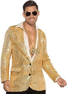 Men's Disco Sequin Blazer-Gold W/Pockets